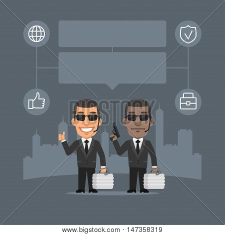 Vector Illustration, Security Guard Holding Gun and Suitcase Concept, Format EPS 8