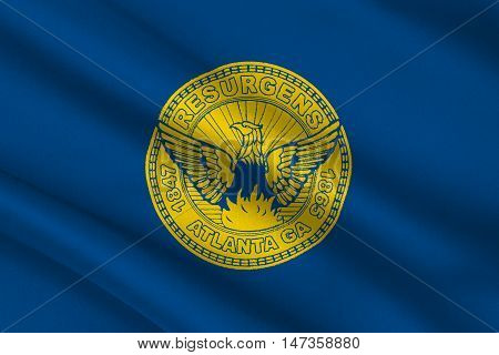 Flag of Atlanta is the capital of Georgia state United States. 3D illustration