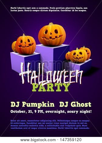 Halloween party poster with pumpkins on pedestal