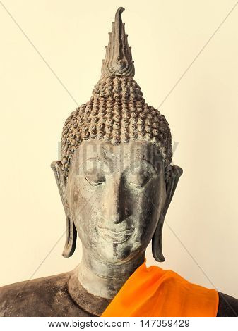 Buddha Statue on white background, Bangkok, Thailand. Generally in Thailand, any kinds of decorated in Buddhist church, etc. they are public domain of Buddhism