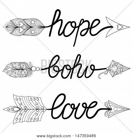 Boho, Love, Hope Arrows. Hand drawn Signs with feathers. Decorative Arrows for adult coloring pages, ethnic patterned t-shirt print. Bohemian chic tribal style. Magic amulets, tattoo design.