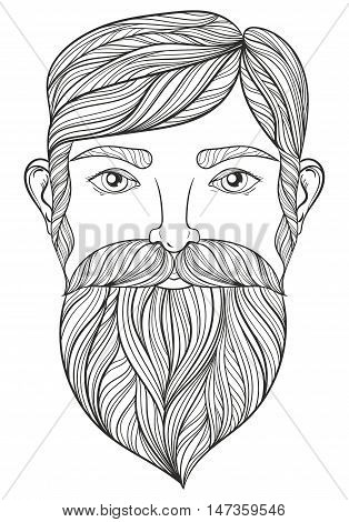 Vector zentangle Portrait of Man with Mustache and beard for adult coloring pages, Tattoo art, ethnic patterned t-shirt print. Monochrome hand drawn illustration in doodle style. A4 size.