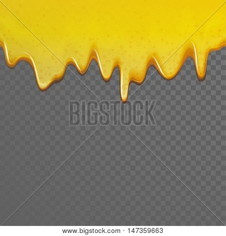 Yellow dripping honey. Vector seamless flowing down honey background.