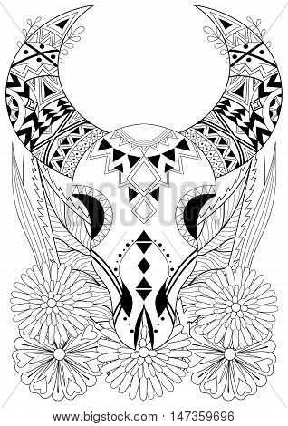 Zentangle stylized Animal Skull with flowers. Hand drawn ethnic animal for adult coloring pages, art therapy, boho tattoo, t-shirt patterned print, posters, t-shirt. Vector isolated illustration.