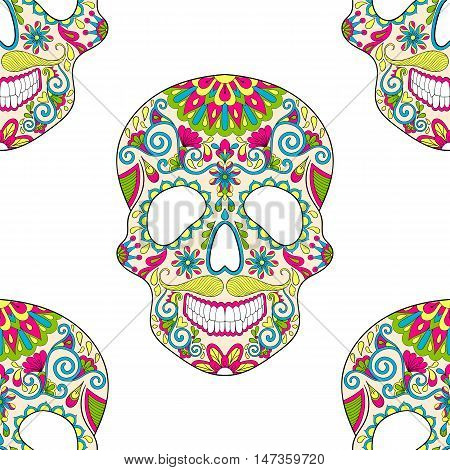 Zentangle stylized color Skull for Halloween, seamless pattern for adult anti stress coloring page and book with artistically doodle elements. Ethnic ornamental vector illustration for tattoo, t-shirt or prints