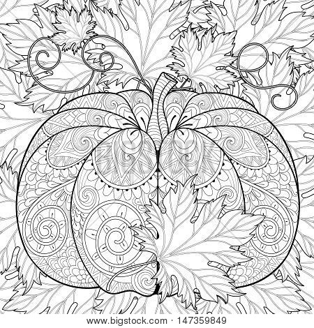 Zentangle stylized Pumpkin on autumn leaves background for Halloween. Freehand sketch for adult anti stress coloring page withdoodle elements. Ornamental artistic vector illustration for t-shirt print