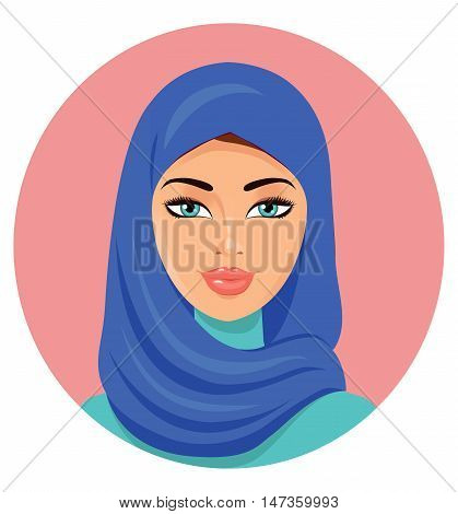 The young beautiful woman in a blue hijab. The vector illustration isolated on a white background.