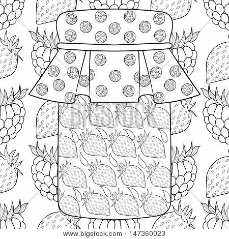 Zentangle stylized jar with strawberry jam on berries background. Freehand sketch for adult anti stress coloring page with doodle elements. Artistic vector illustration for  ethnic autumn t-shirt print, patterned tattoo.