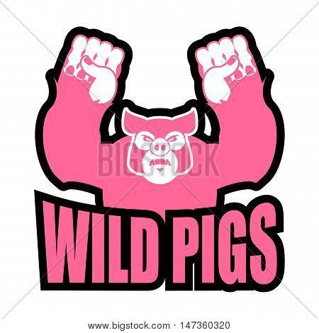 Wild Pigs Logo For Sports Team. Angry Pig. Aggressive Big Boar. Grumpy Farm Animal.