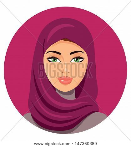 Beautiful young happy Muslim woman in hijab flat cartoon vector illustration. Eps10. Isolated on a white background.