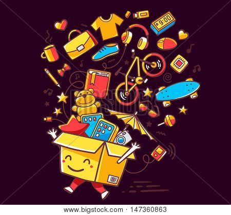 Vector Illustration Of Colorful Smile Character Shopping Box With Lot Of Purchases On Dark Backgroun