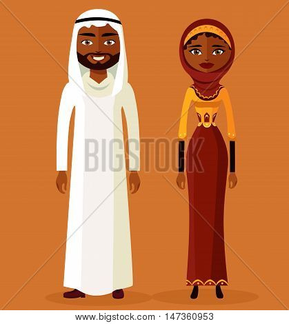 Arab man and woman in traditional clothes. Vector illustration.