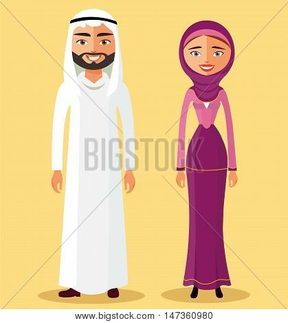Saudi Arabia traditional clothes people flat cartoon vector illustration. Eps10. Isolated on a white background.
