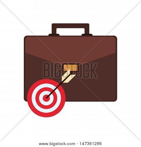 flat design briefcase and bullseye icon vector illustration