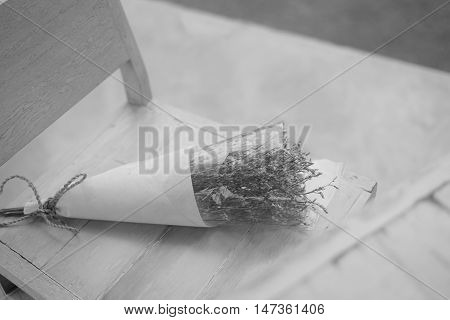 flowers bouquet arrange for pre wedding photographyblack and white effect