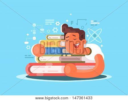 Cartoon man sleep on book. Student studying homework. Vector illustration