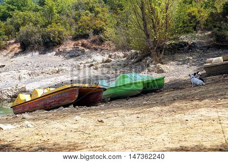 Abandoned Old Boats On The Rocky Shore Of A Lake At The Edge Of A Forest