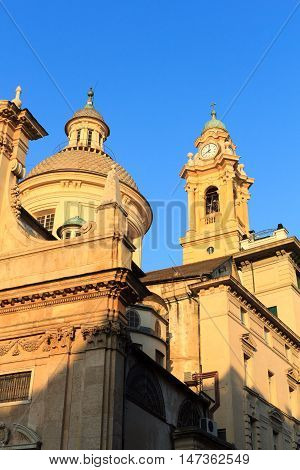 Dome and belfry of Church Chiesa del Gesu in Genoa Italy