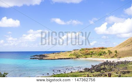 View of a Polynesian Beach in Easter Island Chile