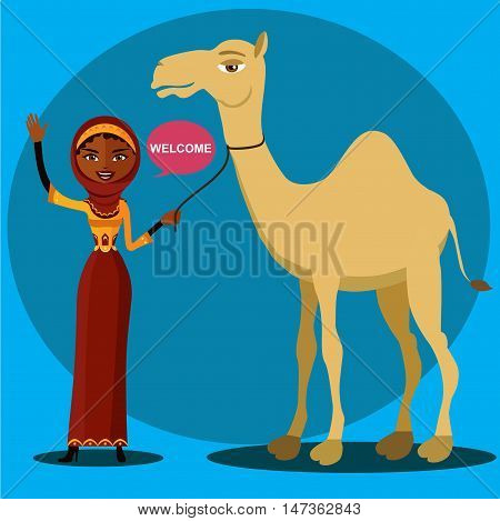 Color vector image of a bedouin woman walking, leading a camel. Cheerful young lady waving her hand.a young arab woman holding an arabic coffee pot.