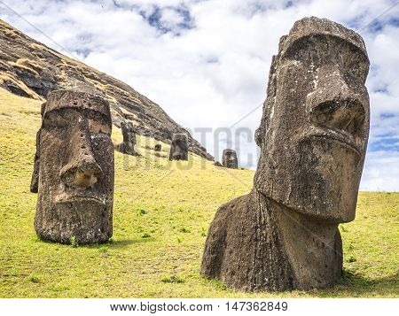 A couple of big moai heads in Easter Island