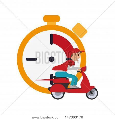 flat design chronometer and scooter  icon vector illustration