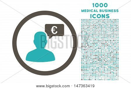 European Person Opinion rounded vector bicolor icon with 1000 medical business icons. Set style is flat pictograms, grey and cyan colors, white background.