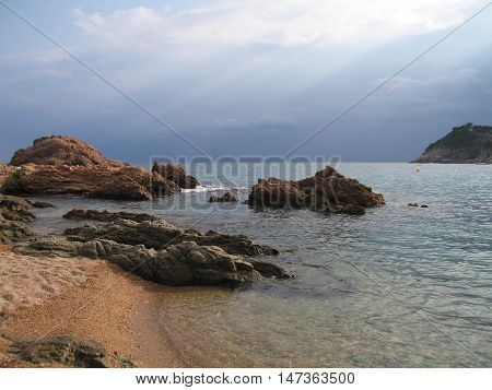 view of the coast in the evening before the rain, Tossa de Mar, Costa Brava (Spain)