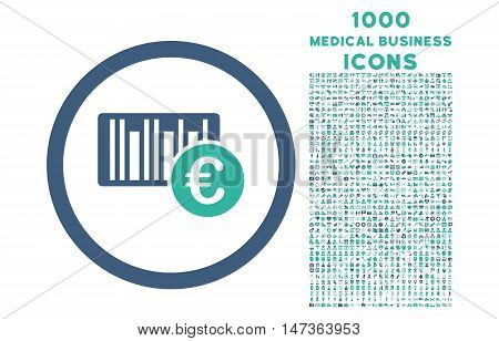 Euro Barcode rounded vector bicolor icon with 1000 medical business icons. Set style is flat pictograms, cobalt and cyan colors, white background.