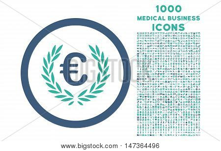 Euro Glory rounded vector bicolor icon with 1000 medical business icons. Set style is flat pictograms, cobalt and cyan colors, white background.