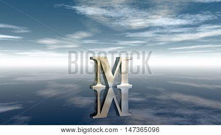 metal uppercase letter m under cloudy sky - 3d rendering