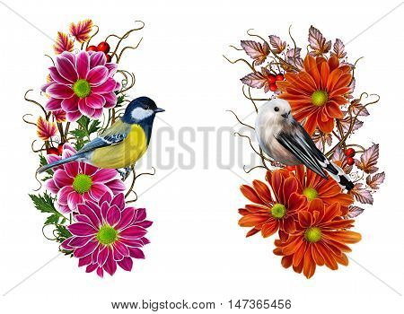 Set. Autumn composition. Flower arrangement of chrysanthemums. Red crimson flowers autumn leaves. Weaving thin branches. Small colorful bird tit.
