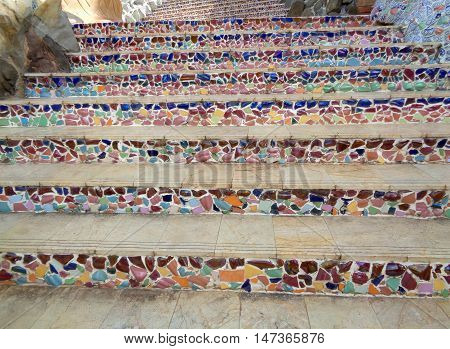 Multi Color Mosaic Stairway to the upper level, Background