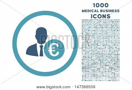 Euro Banker rounded vector bicolor icon with 1000 medical business icons. Set style is flat pictograms, cyan and blue colors, white background.