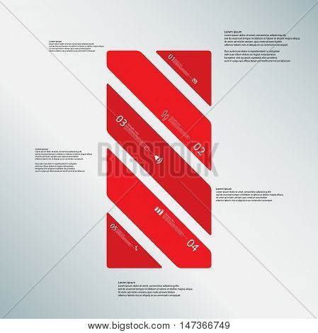 Bar Illustration Template Consists Of Five Red Parts On Blue Background
