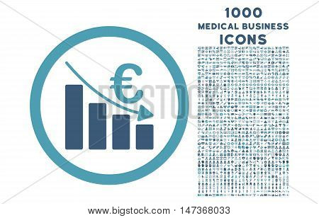 Euro Recession rounded vector bicolor icon with 1000 medical business icons. Set style is flat pictograms, cyan and blue colors, white background.