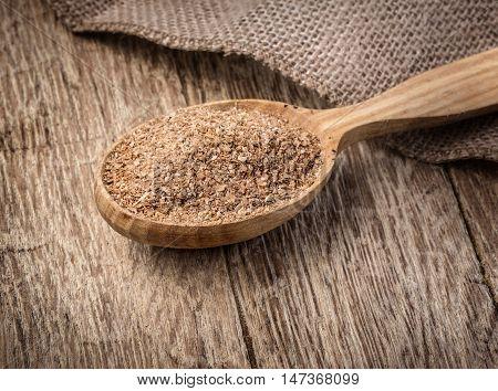 Wheat Bran In Wooden Spoon
