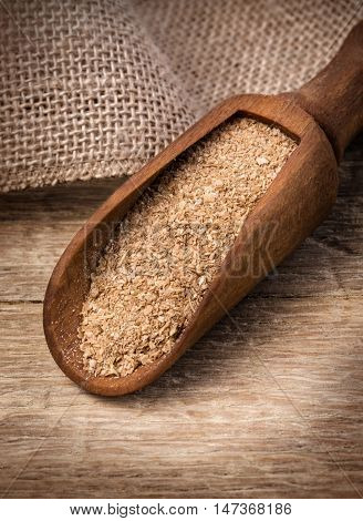 Oat Bran Close Up On Wooden