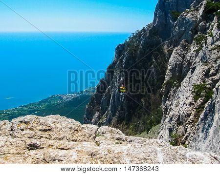 Aerial view of sea from the Mount Ai-Petri. Landscape of Crimea Ukraine