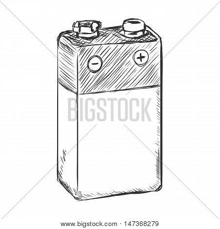 Vector Sketch 9V Krona Battery