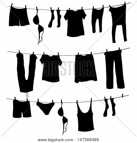 Vector Silhouettes Of Laundry On A Rope