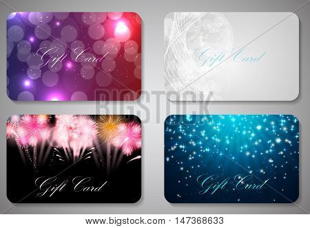 Beautiful Christmas and New Year Gift Card Template Set. Vector Illustration EPS10