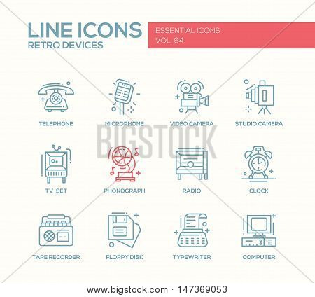 Retro devices - set of modern vector plain line design icons and pictograms. elephone, microphone, video, studio camera, phonograph, tv-set, radio, clock, tape recorder, floppy disk, typewriter computer