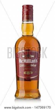 Mcmillans Bottle Whiskey  On White Background