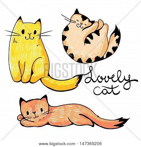 Illustration of funny cartoon cats. Hand-drawn illustration. Vector set.