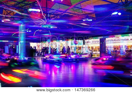 Frankfurt, Germany - September 15: Bumper car ride in Frankfurter Dippemess in 2016