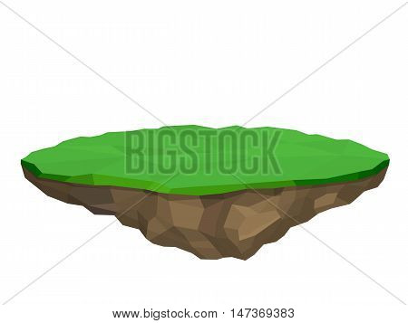 Floating island, vector illustration in low poly style, isolated.