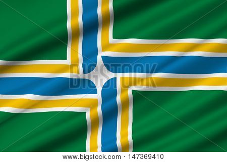 Flag of Portland in state of Oregon United States. 3D illustration