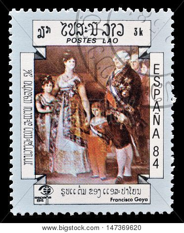 LAOS - CIRCA 1984 : Cancelled postage stamp printed by Laos, that shows painting by Francisco Goya.