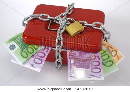 locked cash box with euros